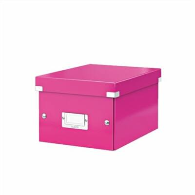"""Irattároló doboz, A5, lakkfényű, LEITZ """"Click&Store"""", rózsaszín"""