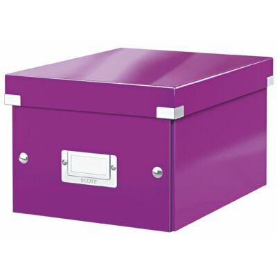 """Irattároló doboz, A5, lakkfényű, LEITZ """"Click&Store"""", lila"""