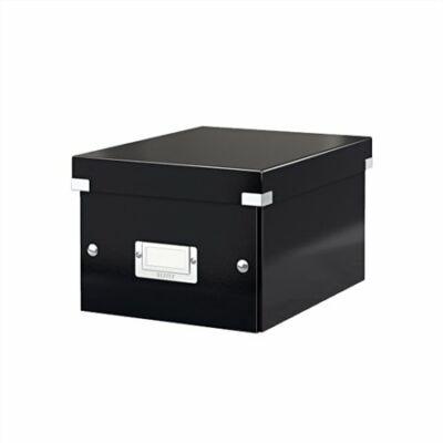 """Irattároló doboz, A5, lakkfényű, LEITZ """"Click&Store"""", fekete"""