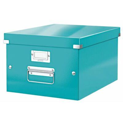 """Irattároló doboz, A4, lakkfényű, LEITZ """"Click&Store"""", jégkék"""