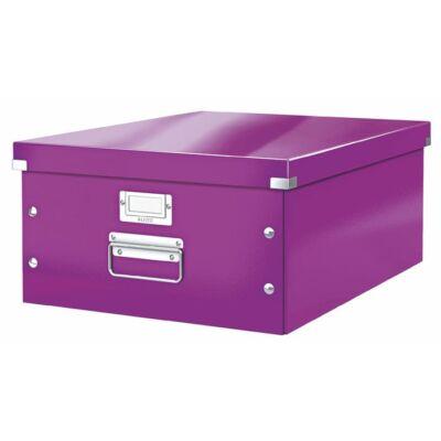 """Irattároló doboz, A3, lakkfényű, LEITZ """"Click&Store"""", lila"""