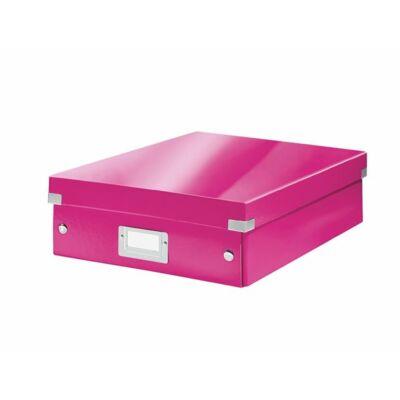 """Tárolódoboz, rendszerező, laminált karton, M méret, LEITZ """"Click&Store"""", rózsaszín"""
