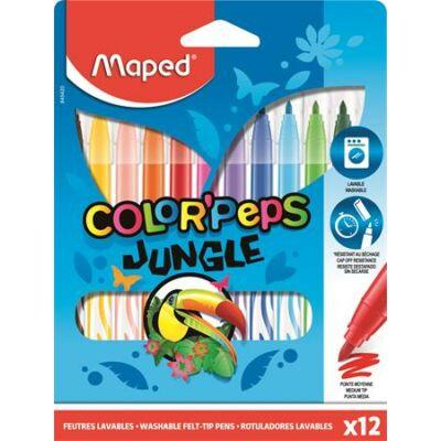 """Filctoll készlet, 2,8 mm, kimosható, MAPED """"Color`Peps Jungle"""", 12 különböző szín"""
