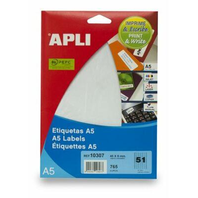 Etikett, 45x8 mm, eltávolítható, ékszerekhez, A5 hordozón, APLI, 765 etikett/csomag