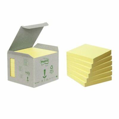 Öntapadó jegyzettömb, 76x76 mm, 6x100 lap, környezetbarát, 3M POSTIT, sárga