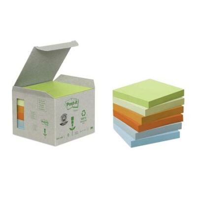 Öntapadó jegyzettömb, 76x76 mm, 6x100 lap, környezetbarát, 3M POSTIT, pasztell szivárvány