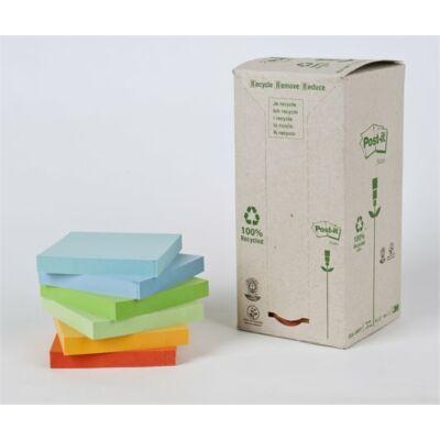 Öntapadó jegyzettömb, 76x76 mm, 16x100 lap, környezetbarát, 3M POSTIT, szivárvány színek