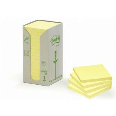 Öntapadó jegyzettömb, 76x76 mm, 16x100 lap, környezetbarát, 3M POSTIT, sárga